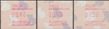 Australian Framas: Koala Button Set 43c, 65c, $1.20: Post Code 3000 Melbourne
